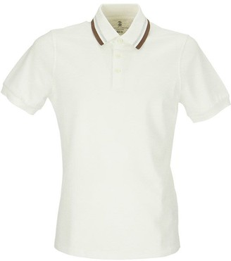 Brunello Cucinelli Cotton pique slim fit polo shirt with striped knit collar