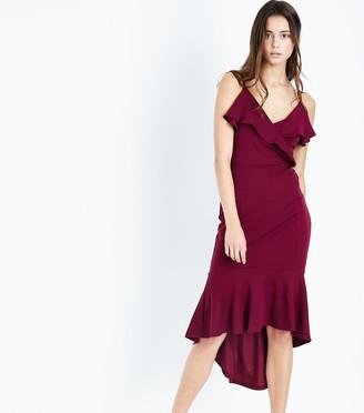 New Look AX Paris Frill Trim Dip Hem Midi Dress