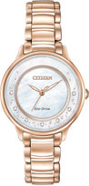 Citizen Women's Eco-Drive Rose Gold-Tone Stainless Steel Bracelet Watch 30mm EM0382-86D