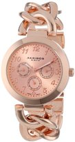 Akribos XXIV Women's AK644RG Ultimate Multi-Function Rose-Tone Twist Chain Link Bracelet Watch