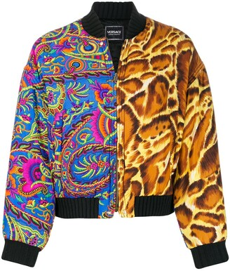 Versace Pre Owned Mixed Print Padded Bomber Jacket