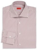 Isaia Burgundy Striped Button-Up
