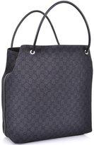 Gucci Large Monogram Logo Black Gifford Jacquard Tote Shopper Bag