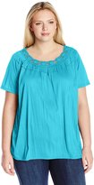 Fresh Women's Plus-Size Short Sleeve Crochet Neck Crinkle Jersey Top