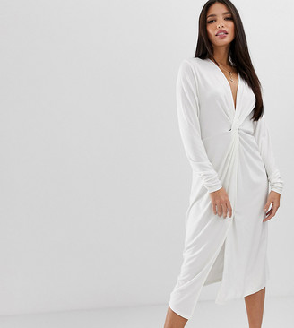Asos Tall DESIGN Tall relaxed long sleeve midi dress with knot front-White