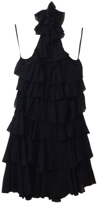 Space Style Concept Black Silk Dress for Women