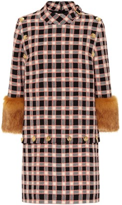 Gucci Faux-fur-trimmed wool minidress