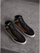 Burberry House Check Cotton and Leather High-top Trainers