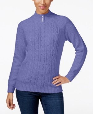 Karen Scott Petite Solid Cable-Knit Sweater, Created for Macy's