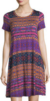 Neiman Marcus Round-Neck Short-Sleeve Graphic-Knit Dress