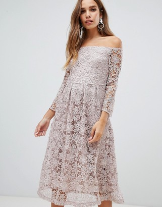 Bardot Dolly & Delicious all over lace prom midi dress with bell sleeve in mauve-Pink