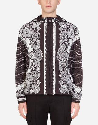 Dolce & Gabbana Nylon Jacket With Hood In Bandana Print