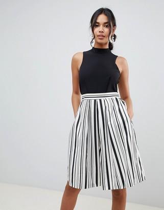 Closet London 2 in 1 prom skater dress in stripe