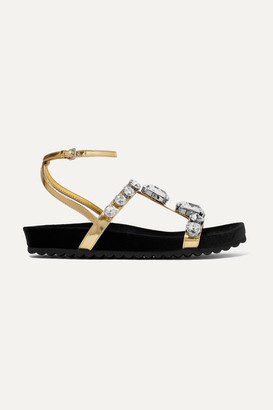 Miu Miu Crystal-embellished Metallic Leather Sandals - Gold