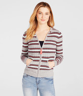 Prince & Fox Striped Cable Hooded Full Zip Cardigan
