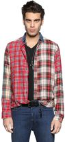 Diesel Patchwork Cotton & Viscose Flannel Shirt