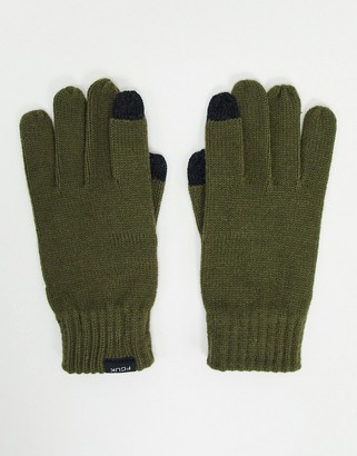 French Connection touch screen gloves in khaki