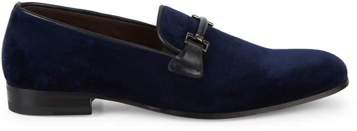 Mezlan Velvet & Leather Bit Loafers