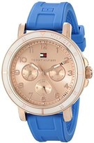 Tommy Hilfiger Women's 1781512 Gold-Tone Sport Watch with Blue Silicone Band