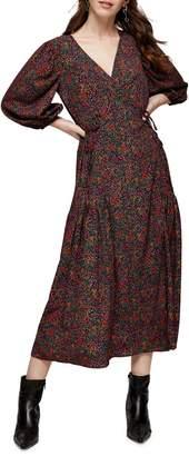 Topshop Ditsy Floral Print Tie Wrap Midi Dress