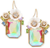 Betsey Johnson Gold-Tone Multi-Stone Floral Drop Earrings