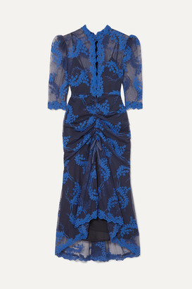Alice McCall Honeymoon Ruched Embroidered Tulle Midi Dress - Indigo