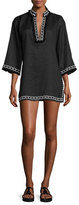 Tory Burch Linen Embellished Tunic, Black
