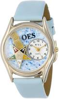 Whimsical Watches Women's C0710008 Classic Gold Order of the Eastern Star Baby Blue Leather And Goldtone Watch