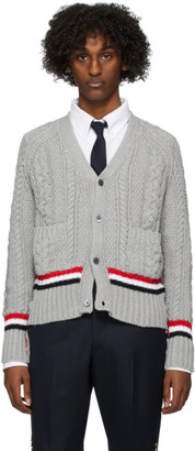Thom Browne Grey Aran Cable V-Neck Cardigan