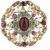 Satellite Women's Gold Plated Multicolour Stones Freshwater Pearls Plum Ethnic Gabriella Brooch