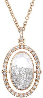Moritz Glik 18kt Rose Gold Oval Halo Diamond Shaker Necklace