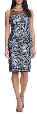 Adrianna Papell Embroidered Midi Sheath Dress