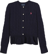 Ralph Lauren Cable knit peplum cotton cardigan 7-14 years