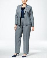 Le Suit Plus Size Three-Piece One-Button Striped Pantsuit