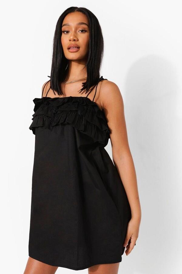 boohoo Cotton Strappy Ruffle Bust Shift Dress