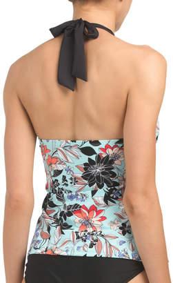 Halter Neck Floral Print Tankini Top