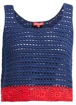 STAUD Guppie Colour-block Crochet-cotton Crop Top - Womens - Navy