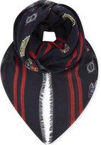 Alexander Mcqueen Badges Silk-blend Scarf
