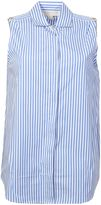 MICHAEL Michael Kors White And Light Blue Striped Cotton Sleeveless Shirt