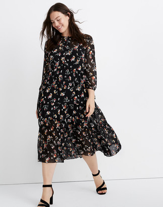 Madewell Sheer Button-Front Tier Midi Dress in Carnation Toss
