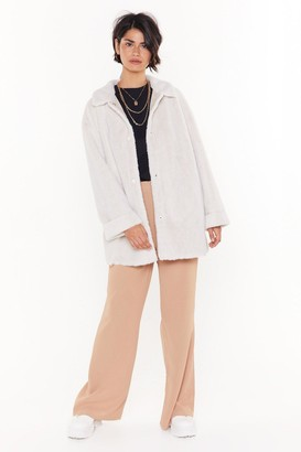 Nasty Gal Womens Love Never Belt This Good Faux Fur Coat - White - 14