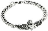 King Baby Studio Curblink Bracelet with Winged Crowned Heart Bracelet