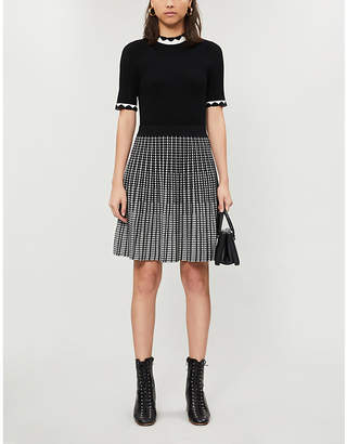 Ted Baker Houndstooth-pattern stretch-knit midi dress