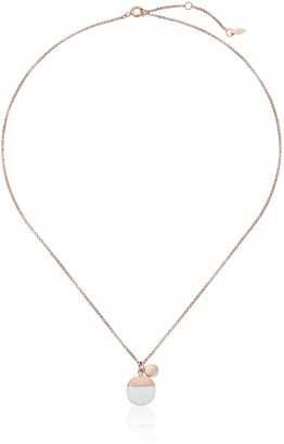 """Fossil Enamel Dipped Rose Gold Pendant Necklace 18"""" + 2"""" Extender"""