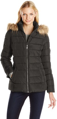 Tommy Hilfiger Women's Short Front Zip Puffer with Fur Trimmed Hood
