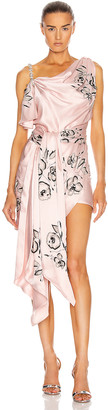 Redemption Draped Embroidered Mini Dress in Light Pink | FWRD