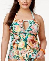 Becca Etc Plus Size High Tea Cutout Halter Tankini Top Women's Swimsuit