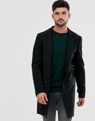 ONLY & SONS wool overcoat in black
