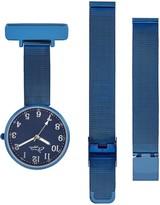 Bermuda Watch Company Annie Apple Empress Interchangeable Silver, Blue Mesh Wrist To Nurse Watch Ladies
