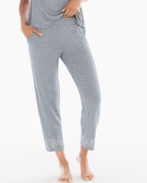 Soma Intimates Ankle Pajama Pants Content Border Heather Silver